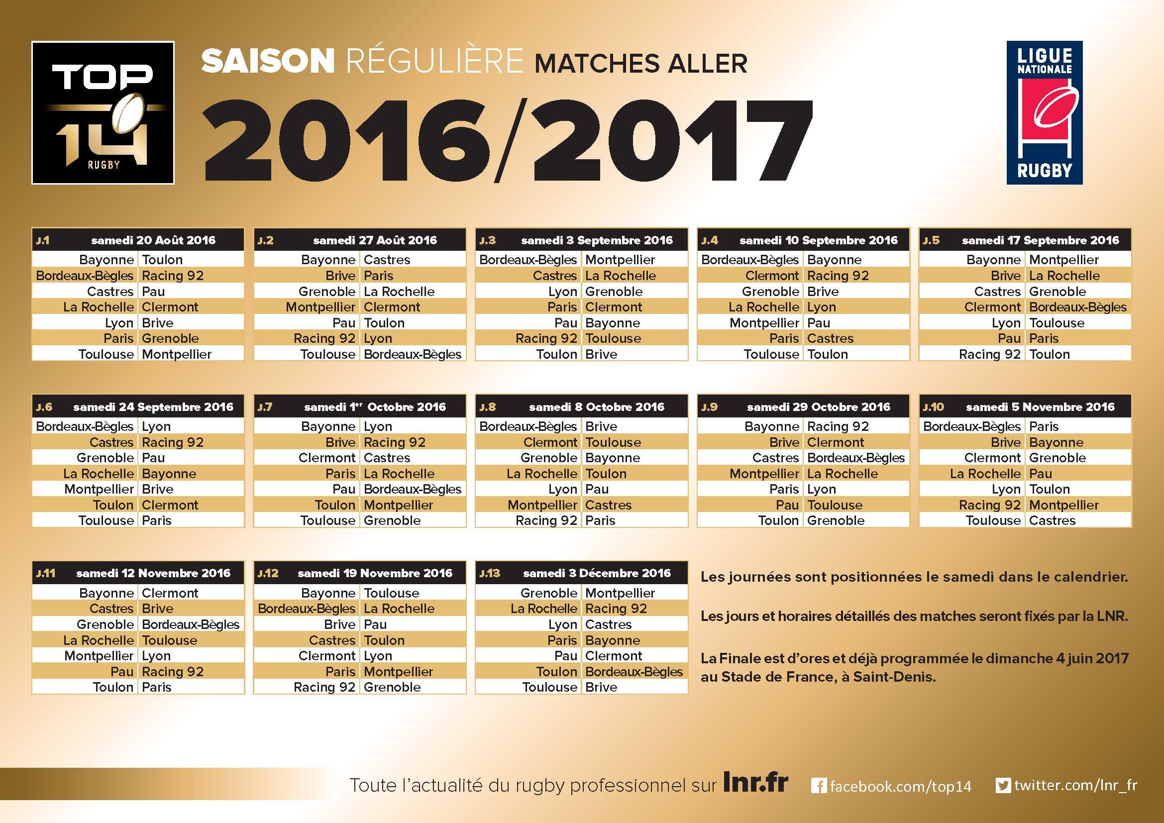 Top 14 calendrier des rencontres