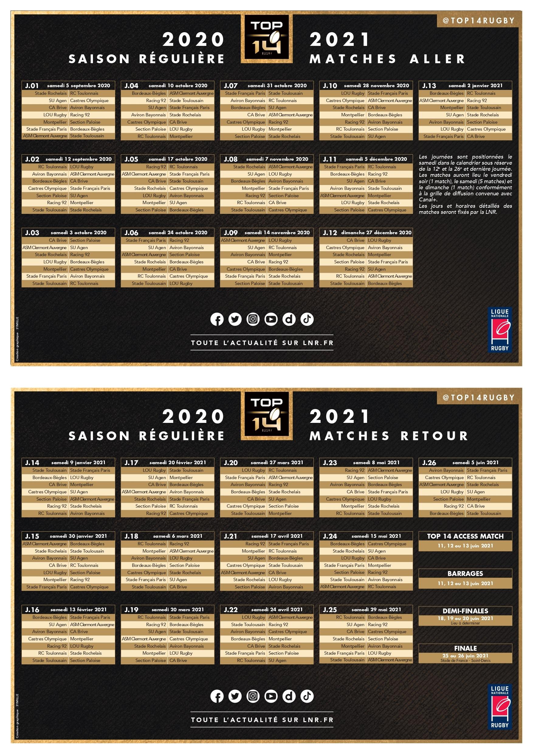 Calendrier Top 14 2021 2022 Le Calendrier Top 14 20/21 dévoilé !