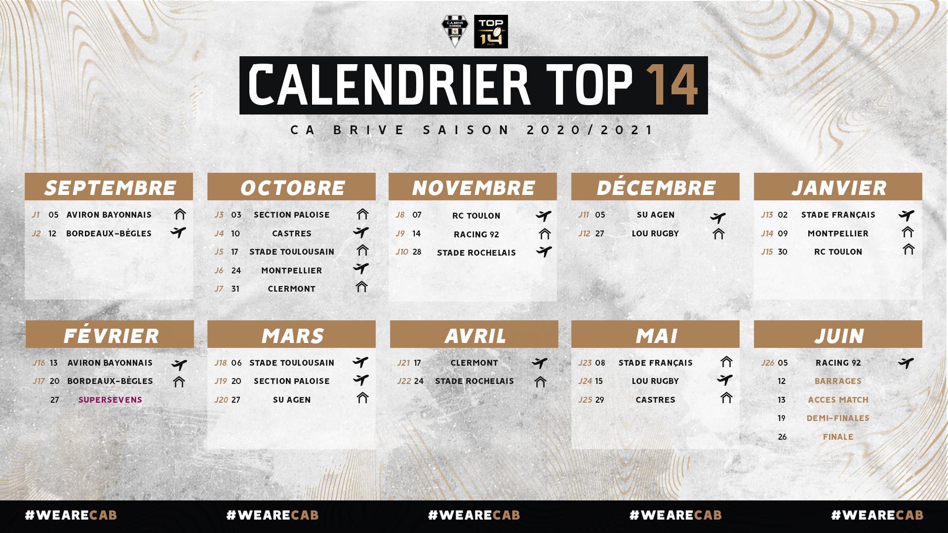 Calendrier Top 14 2022 Le Calendrier Top 14 20/21 dévoilé !